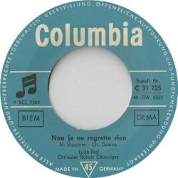 Piaf Edith – Non, Je Ne Regrette Rien|1961  ,Columbia C 21 725-Single