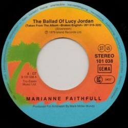 Faithfull Marianne – The Ballad Of Lucy Jordan|1979 Island Records 101 038-Single